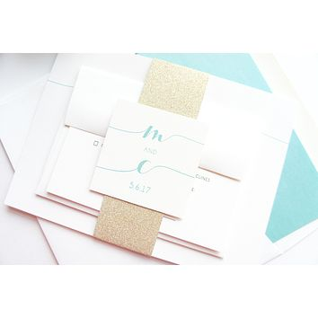 Mint and Gold Wedding Invitation - DEPOSIT