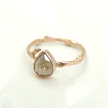 Diamond 14k Rose Gold Branch Ring, Rose Cut Diamond Engagement Ring, Eco Friendly