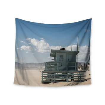 "Juan Paolo ""No Lifeguard On Duty"" Blue Multicolor Wall Tapestry"