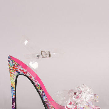 Privileged Lucite Cluster Jeweled Ankle Strap Heel