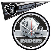 Oakland Raiders NFL Round Wall Clock and Pennant Gift Set