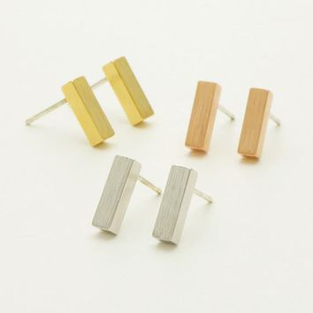 Thick Modern Bar Stud Earrings / rectangular earrings, geometric jewelry, bar earrings, box earrings / E061