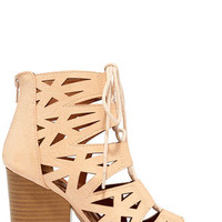 Shape on You Blush Cutout Lace-Up Booties