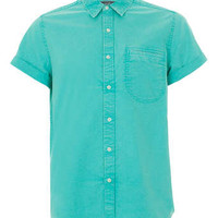 Mint Green Acid Wash Oxford Short Sleeve Shirt