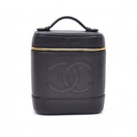 Chanel Black Caviar Leather Vanity Bag Cosmetic Case