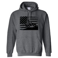 American US Flag 4X4 Off-Road on a Dark Heather Hoodie