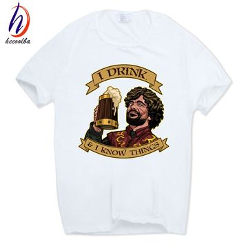 Hecoolba 2017 Men Tyrion Lannister I DRINK AND I KNOW THINGS T-shirt Short Sleeve O-Neck Game of Thrones T shirt Swag HCP564