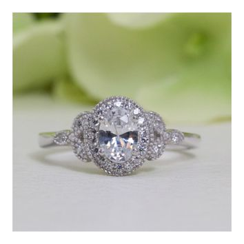 Antique Victorian Style Fine Quality Oval Cubic Zirconia Ring In Sterling Silver
