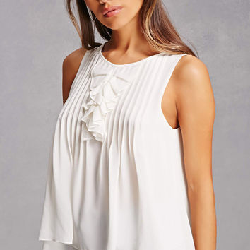 Pintucked Ruffle Top