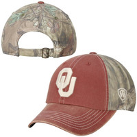 Oklahoma Sooners Top of the World Dirty Camo Adjustable Hat – Crimson