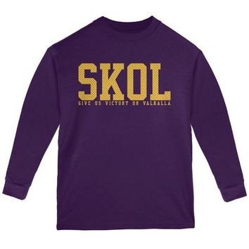 PEAPGQ9 Vikings Skol Give Us Victory or Valhalla Youth Long Sleeve T Shirt