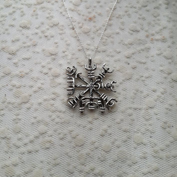 Vegvisir, Hand Carved Silver Icelandic Path Guide Pendant, Icelandic Symbol Necklace, Witch Jewelry, Occult Jewelry, Moon and Serpent