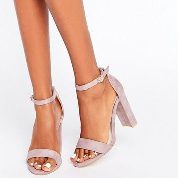 Glamorous Barely There Lilac Block Heeled Sandals at asos.com