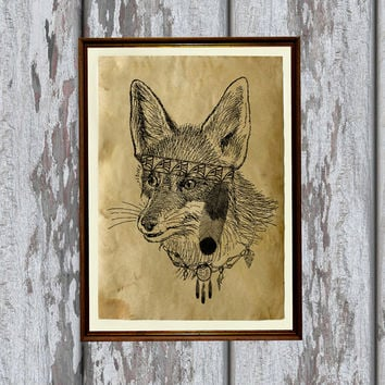 Tribal animal decor Native american fox print Canine poster 8.3 x 11.7 inches