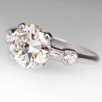1940'S Vintage 1.8 Carat Transitional Diamond Ring WMC10648