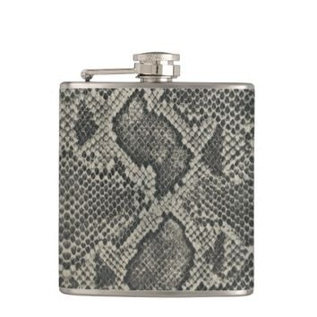 grey and brown snakeskin flask