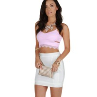 Sale-pink Enticing Crop Top