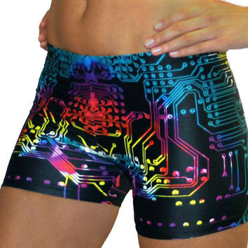 Colorful Computer Board Printed Spandex Compression Short