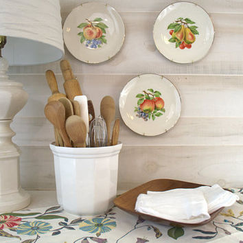 Pfaltzgraff Heritage Ceramic Canister,  Large Utensil Holder, White Kitchen Canisters, White Ceramic Utensil Crock