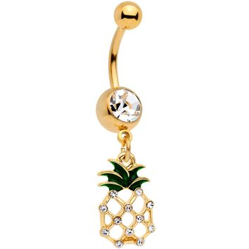 Clear Gem Gold Tone Tropical Treat Pineapple Dangle Belly Ring