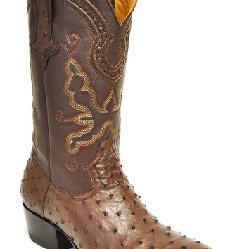 Gavel Handcrafted Men's Full Quill Ostrich R-Toe Cowboy Boots-Tobacco