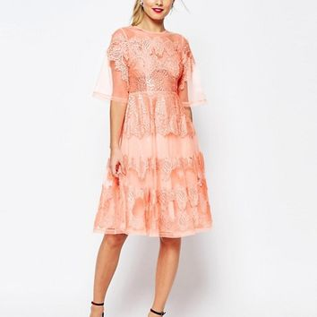 ASOS SALON Lace And Organza Midi Dress at asos.com