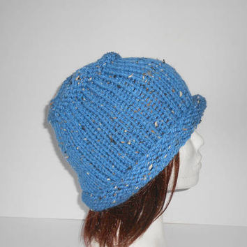 Women's knit Hat. Roll Up Brim Knit Hat. Roll Up Brim Knit Cap. Knit blue Hat. Beanie Hat. Toque wool hat. Irish hand knit tweed beanie