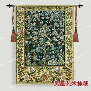 CREYU3C William Morris - Tree of life -green Extra large 197 X 139cm Art tapestry wall hanging Home decorative textile Jacquard products