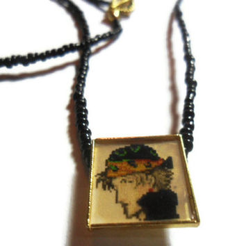 FFVI Locke pendant with black seed beads 20 inches, video game pendant, altered art gamer necklace