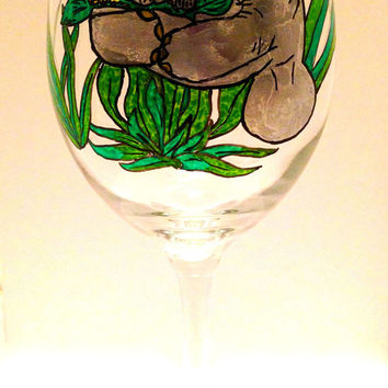 Endangered Manatee Wine Glass - Hand Painted - Sea Cow