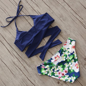 Floral Bikini Set Ethnic Flower Printing Bottom bathing suits 2 Piece