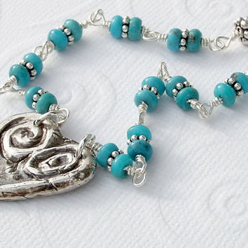 Sleeping Beauty Turquoise Rondelle Sterling Silver Wire Wrapped Fine Silver Rustic Heart Pendant Necklace