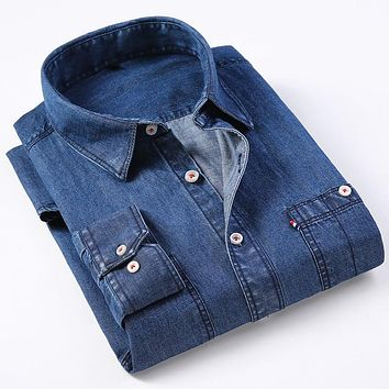 Fashion Long Sleeve Men's Denim Shirt Turn-down Collar Social Regular Fit Clasic Cotton High Quality Soft Men Casual Shirt