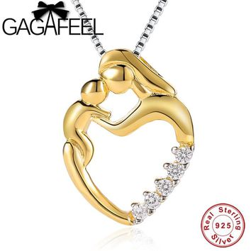 GAGAFEEL 925 Sterling Silver Mom Chains Necklaces Gold Golor Mother Daughter Son Child Family Love Pendants Mother's Day Gift