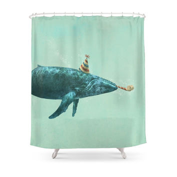Society6 Party Whale Shower Curtains