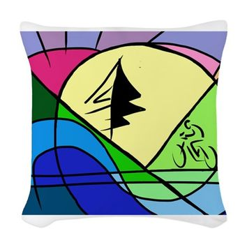 CYCLIST IN HILLS ABSTRACT WOVEN THROW PILLOW