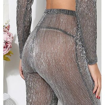 Hot! fashion Sexy belly hollow gauze high neck two piece-1