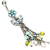 Body Accentz® Belly Button Antique Bronze Chain Butterfly Navel Ring Body Jewelry 14 Gauge Ho294