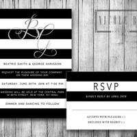 Wedding Invitation Digital Wedding Set Invitations Black and White B&W Stripes Silver Grey Elegant Chic Bridal Invite DIY Invites Printable