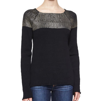 Long Sleeve Colorblock Top, Black, Size:
