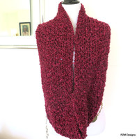 Super Thick Infinity Scarf, Marsala Red Chunky Cowl, Gift for Her