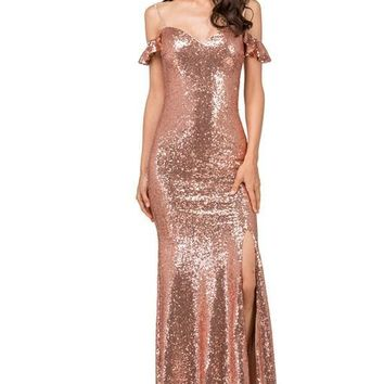 Off the shoulders sequins prom dress with slit  DQ2398