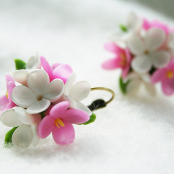 Lilac earrings - lilac jewelry - flower jewelry - floral jewelry - polymer clay earrings - polymer clay jewelry - pink, white