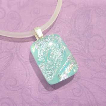Small Pendant, Pastel Blue, Fused Glass Necklace, Handmade  - Elle- 4771-5