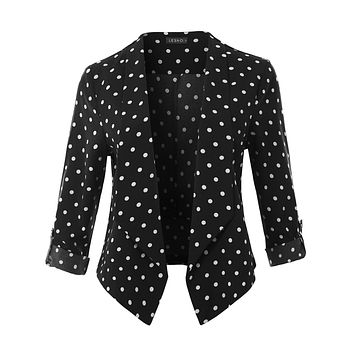 Polka Dot Print Open Front 3/4 Sleeve Blazer With Adjustable Sleeves