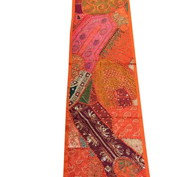 Fall Decor Patchwork Table Runner Orange Vintage Embroidered Wall Hanging