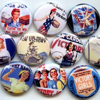 "VICTORY GIRLS WWII Patriotic 10 Pinback 1"" Buttons Badges Pins"