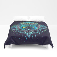 Cat Mandala Duvet Cover by printapix