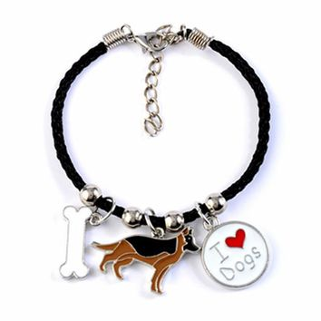 German Shepherd dog charm bracelets for men women girls rope chain silver color alloy pendant male female bracelet friends gift