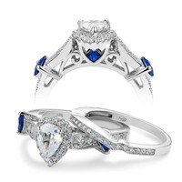 .925 Silver Pear Shape Halo Wedding Ring Set